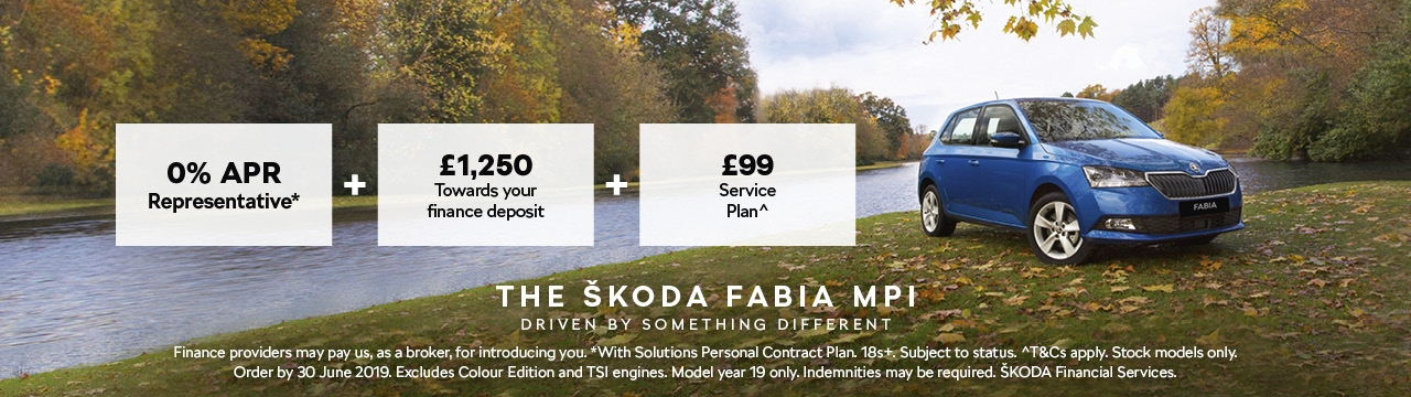 0% APR on the ŠKODA Fabia from £149 per month